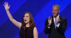 LGBT rights activist Sarah McBride and co-Chair of the Congressional LGBT Equality Caucus, Congressman Sean Patrick Maloney at the Democratic National Convention in 2016