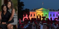 L - Michelle Obama and daughter Malia Obama. R - The White House lights up in the colours of the Pride flag