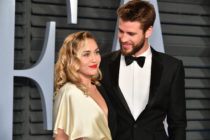 Miley Cyrus (left) and Liam Hemsworth