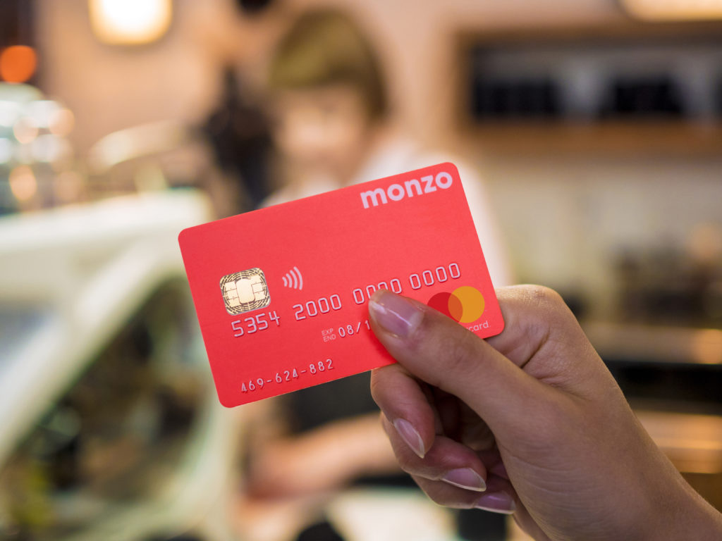 A Monzo card. Monzo recently showed trans support on Twitter