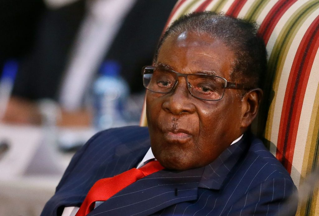 Zimbabwean President Robert Mugabe looks on as he attends the 2nd Session of the South Africa-Zimbabwe binational Commission (BNC) on October 3, 2017 at Sefako Makgatho Presidential Guest House in Pretoria. / AFP PHOTO / Phill Magakoe (Photo credit should read PHILL MAGAKOE/AFP/Getty Images)