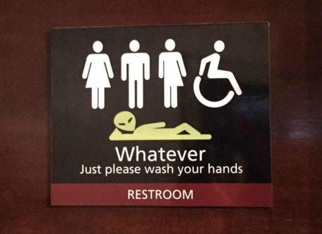 Bathroom sign 'whatever'