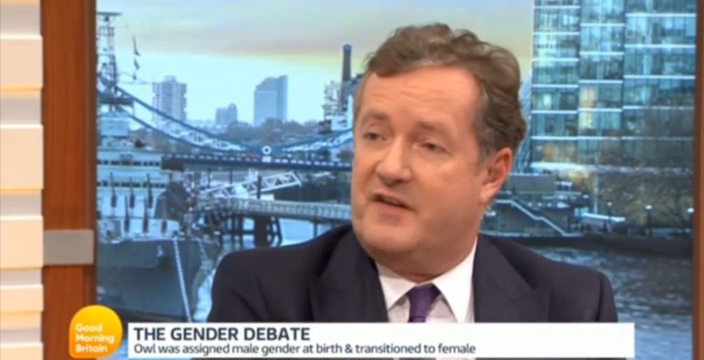 Piers Morgan with owl and fox
