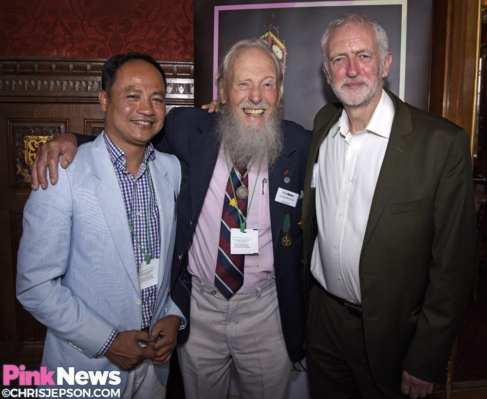 Jeremy Corbyn with George Montague and his partner Somchai (Photo by Chris Jepson for PinkNews)