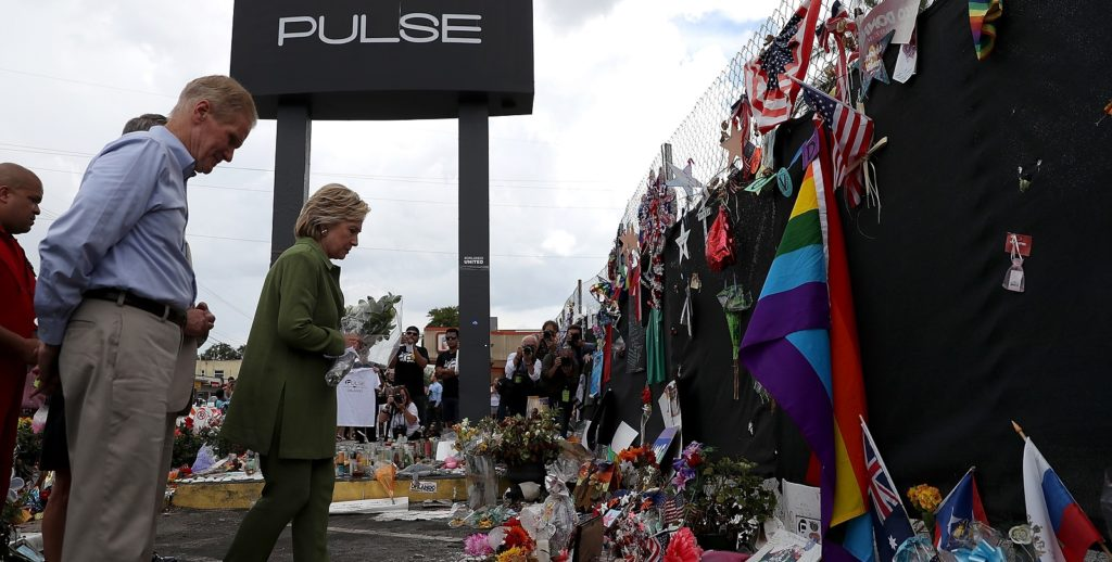 Hillary Clinton at Orlando Pulse nightclub after the massacre which killed 49