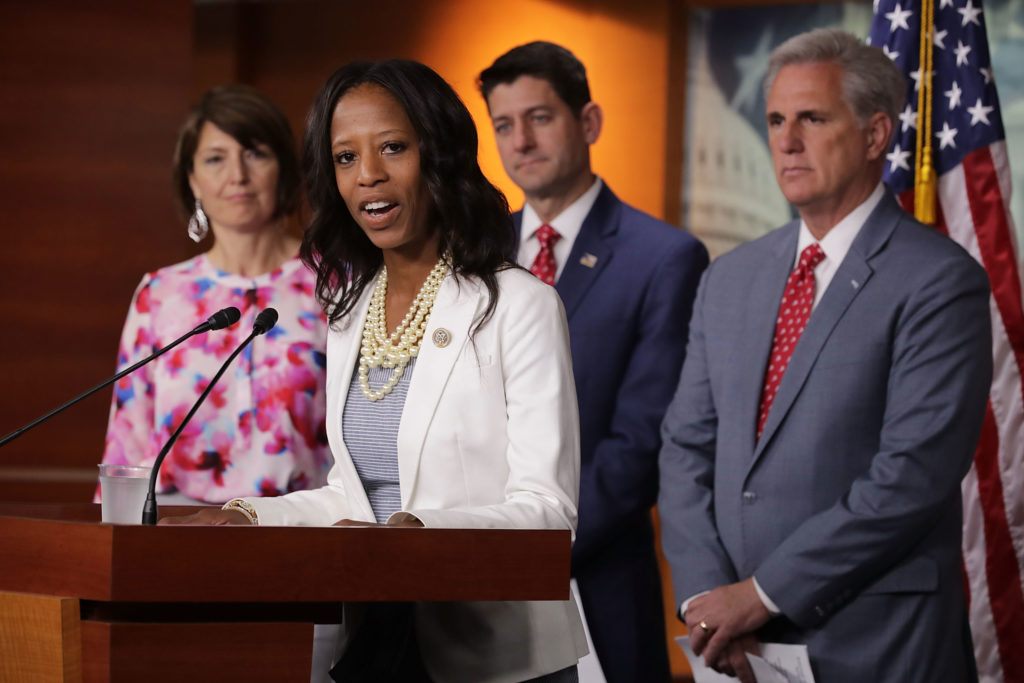 Rep. Mia Love at a press conference with Republican leaders