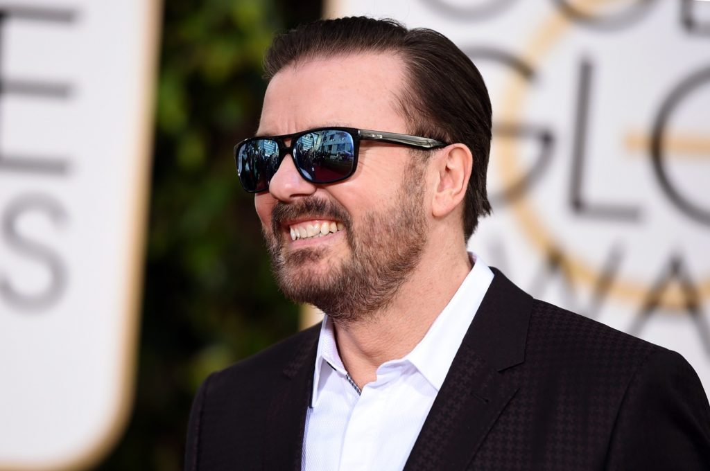Ricky Gervais attends the 73rd Annual Golden Globe Awards held at the Beverly Hilton Hotel on January 10, 2016 in Beverly Hills, California