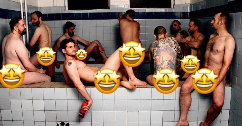Men are pictured in a charity calendar.