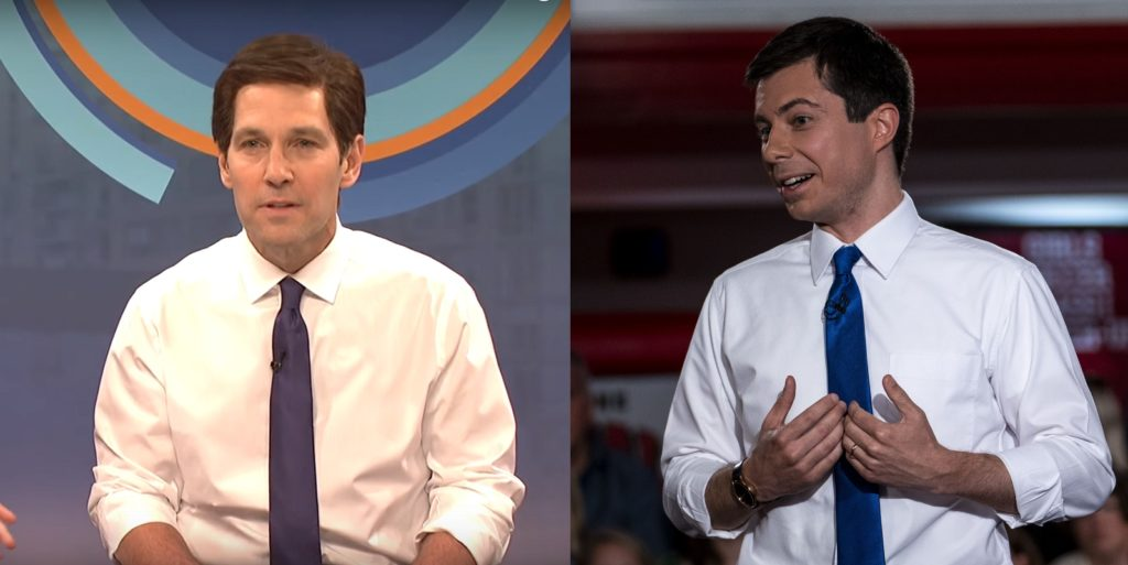 L - Paul Rudd as Pete Buttigieg. R - Pete Buttigieg as Pete Buttigieg.
