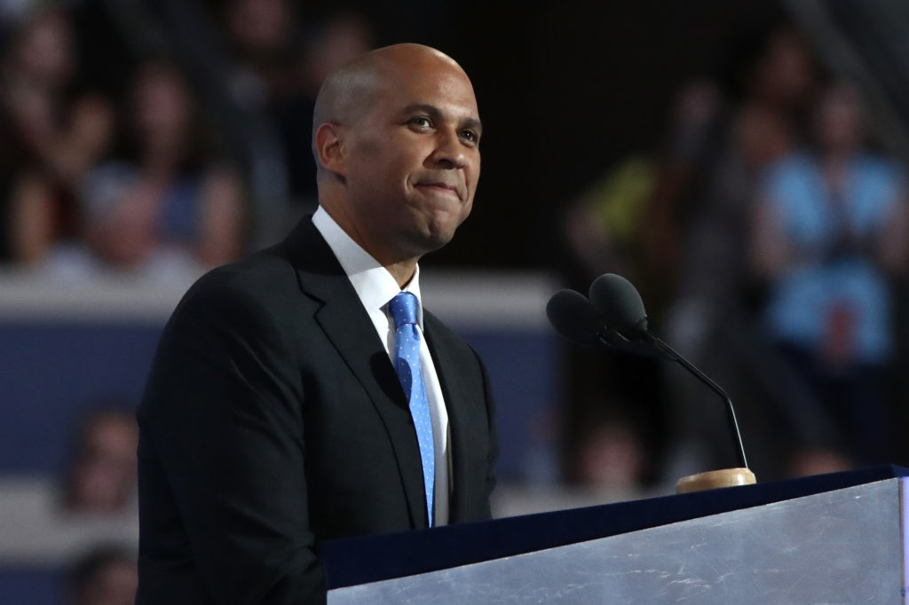 Senator Cory Booker speaks at the Democratic National Convention in 2016 in Philadelphia, Pennsylvania.