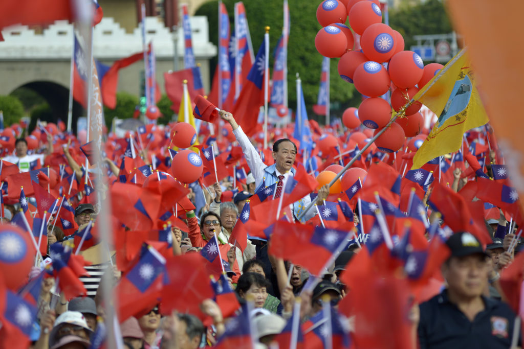 A rally ahead of the November 24 elections in Taiwan
