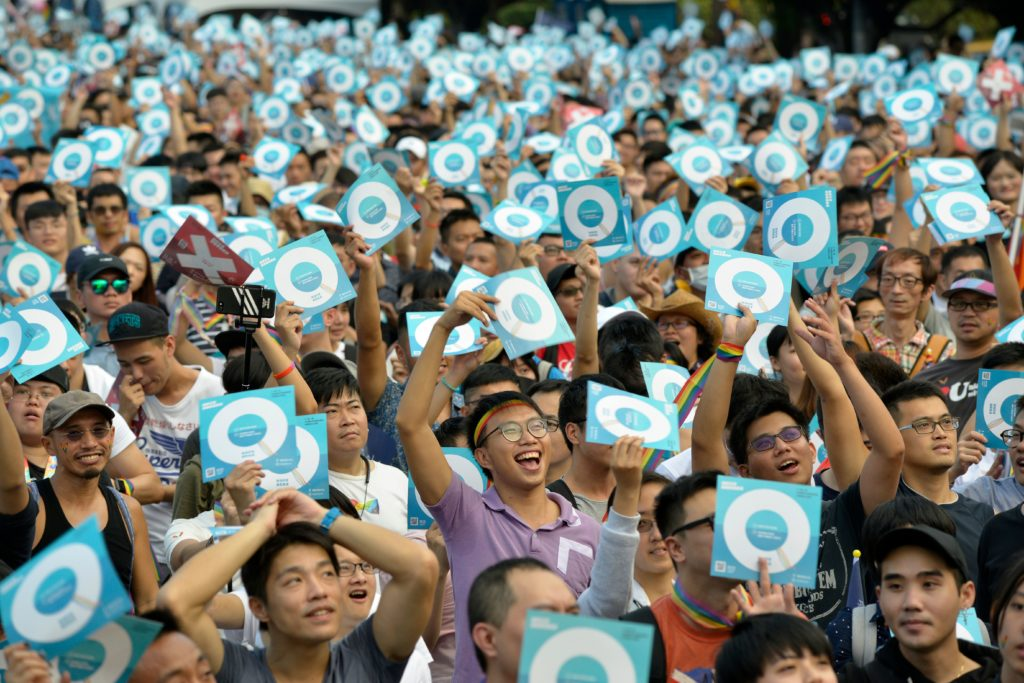 Supporters of equal marriage in Taiwan ahead of the referendum