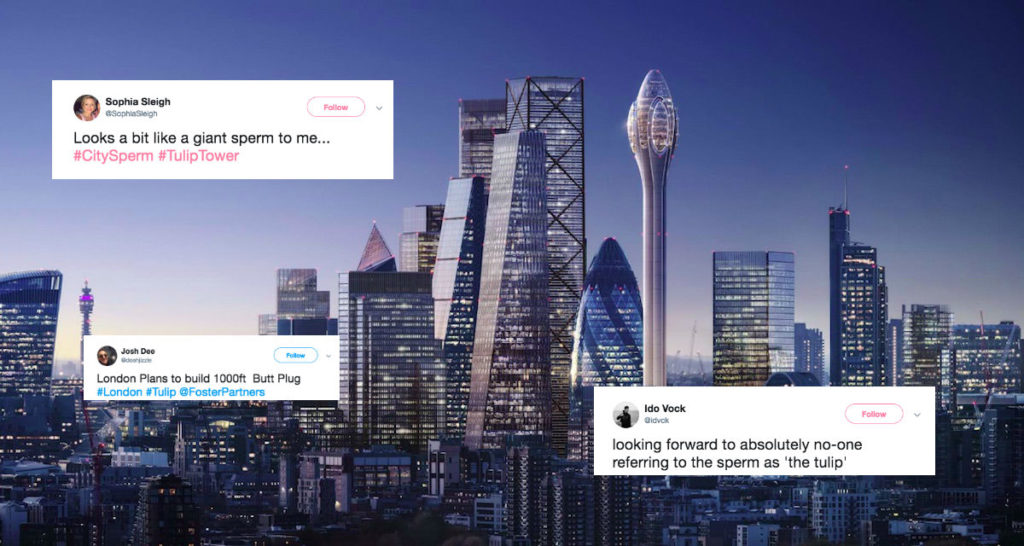 Social media users have compared The Tulip to a giant sperm
