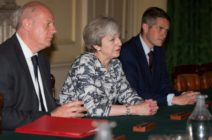 LONDON, ENGLAND - JUNE 26: Prime Minister Theresa May (2L) sits with First Secretary of State Damian Green (L), and Parliamentary Secretary to the Treasury, and Chief Whip, Gavin Williamson (3L) as they talk with Democratic Unionist Party (DUP) leader Arlene Foster, DUP Deputy Leader Nigel Dodds, and DUP MP Jeffrey Donaldson (not seen) inside 10 Downing Street on June 26, 2017 in London, England. Prime Minister Theresa May's Conservatives signed a deal Monday with Northern Ireland's Democratic Unionist Party that will allow them to govern after losing their majority in a general election this month. (Photo by Daniel Leal-Olivas - WPA Pool /Getty Images)
