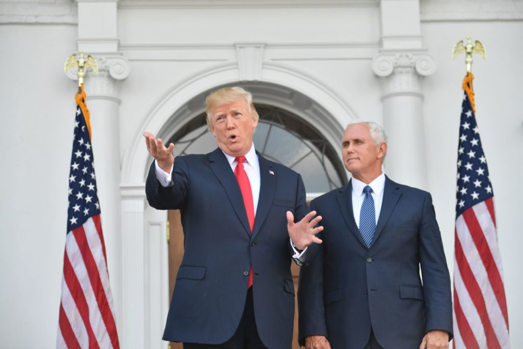 US President Donald Trump and Vice President Mike Pence speak to the press on August 10, 2017, at Trump's Bedminster National Golf Club in New Jersey before a security briefing. / AFP PHOTO / Nicholas Kamm (Photo credit should read NICHOLAS KAMM/AFP/Getty Images)