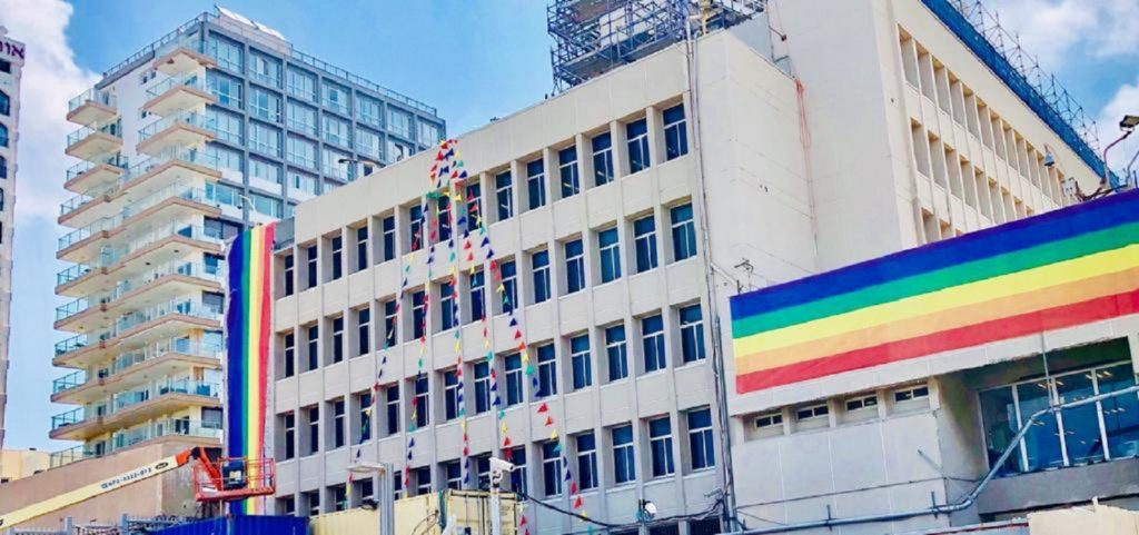 The US Embassy branch office in Tel Aviv, Israel hung rainbow flags