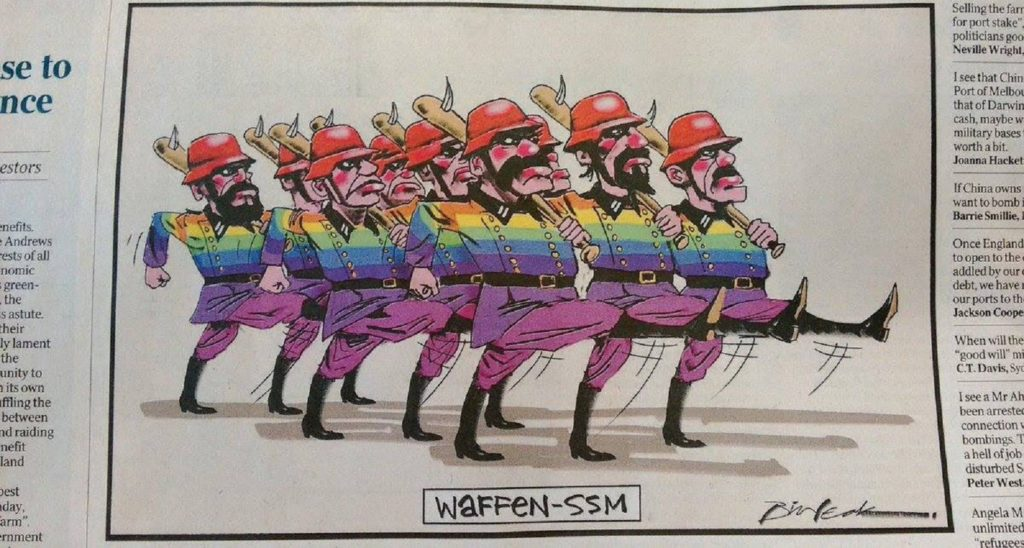 Australian newspaper prints cartoon comparing gays to Nazi