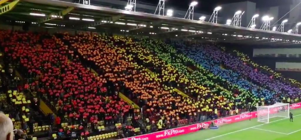 Watford FC fans make a huge Pride flag in the stands