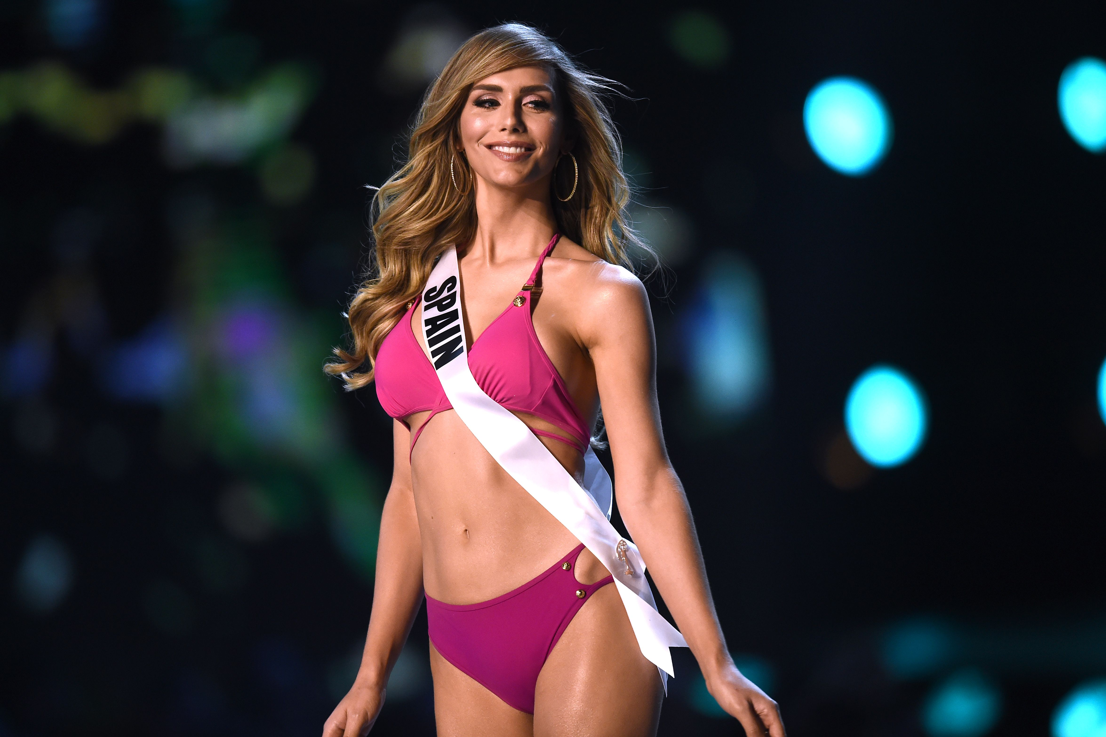 Angela Ponce of Spain competes in the swimsuit competition during the 2018 Miss Universe pageant in Bangkok in December 2018