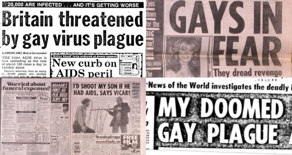 Anti-gay tabloid headlines re-published by PinkNews on World AIDS Day