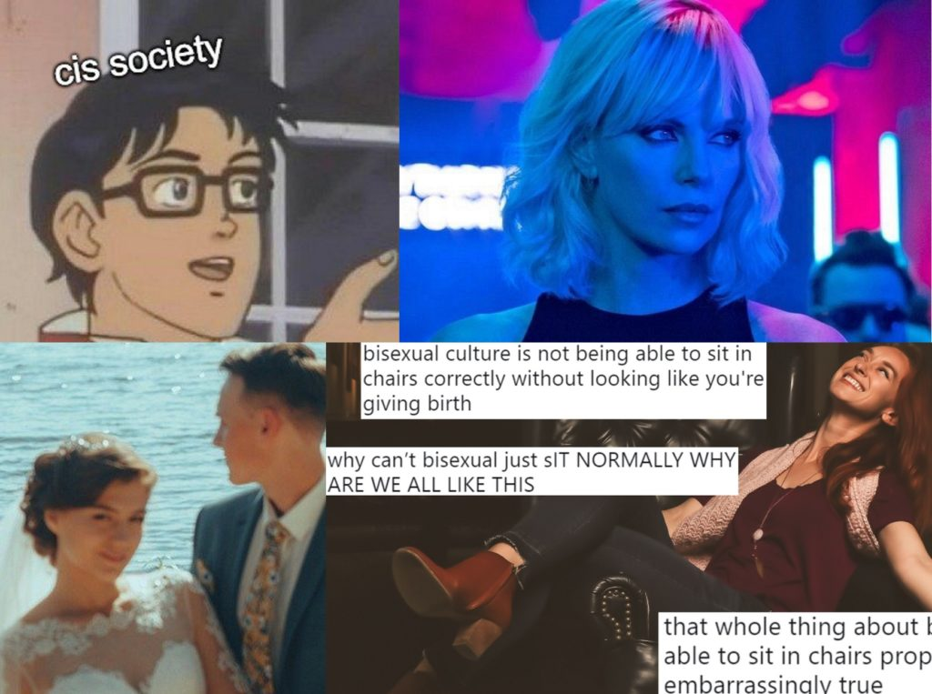 "Images representing four popular gay memes from 2018, including ""bisexual lighting"" and ""Is This A Pigeon?"""