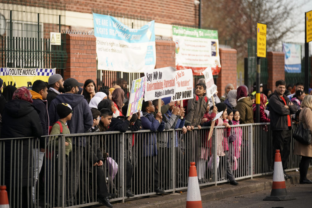 Protestors lined up outside of Parkfield School, Birmingham