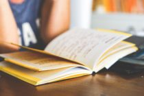A student reads a book