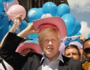 Mayor of London Boris Johnson wears a pink stetson hat at the Gay Pride parade on July 5,