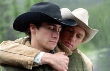 Heath Ledger and Jake Gyllenhaal as gay cowboy lovers in Brokeback Mountain