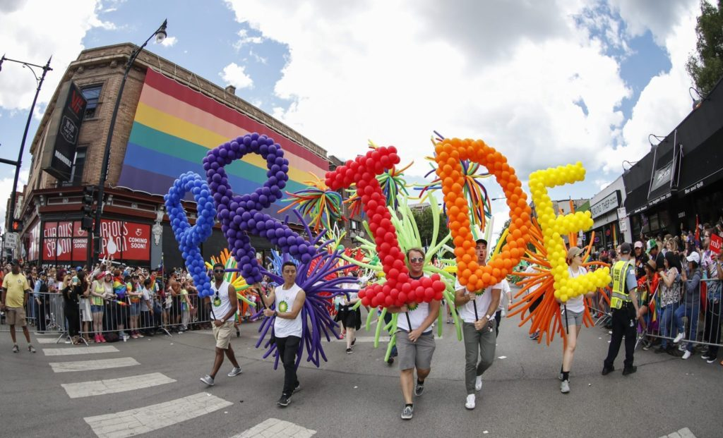 Revellers celebrate the 48th annual Gay and Lesbian Pride Parade in Chicago