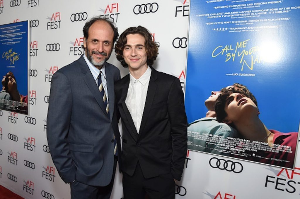 """HOLLYWOOD, CA - NOVEMBER 10: Luca Guadagnino (L) and Timothee Chalamet attend the screening of """"Call Me By Your Name"""" at AFI FEST 2017 Presented By Audi at TCL Chinese Theatre on November 10, 2017 in Hollywood, California. (Photo by Michael Kovac/Getty Images for AFI)"""
