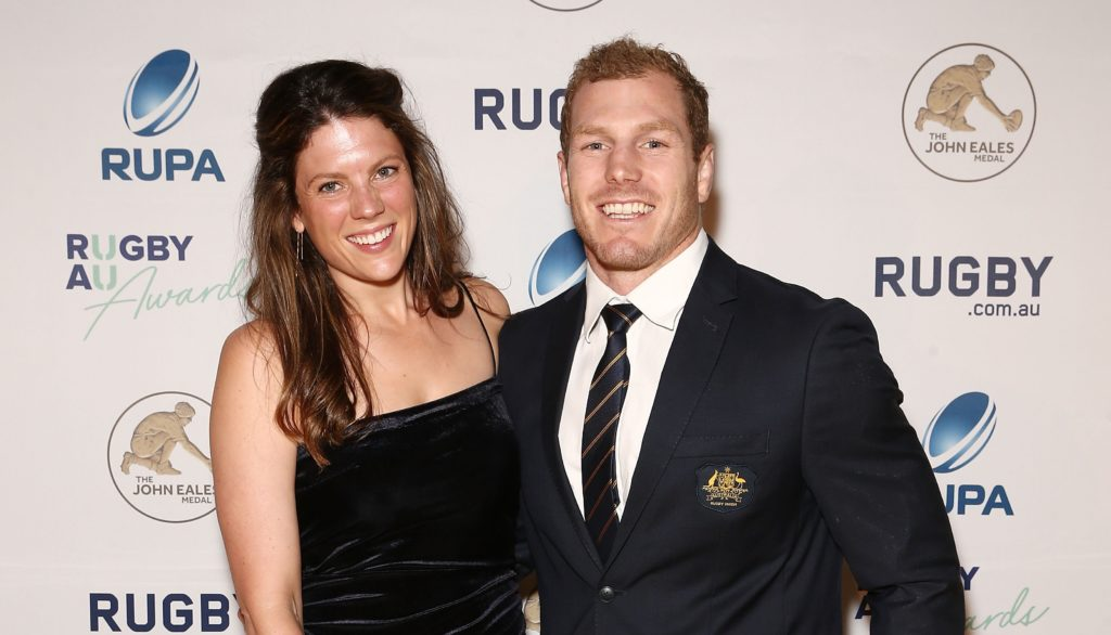 Rugby player David Pocock and with wife Emma Palandri