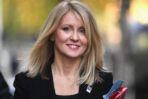 Esther McVey smiling as she walks in 10 Downing Street