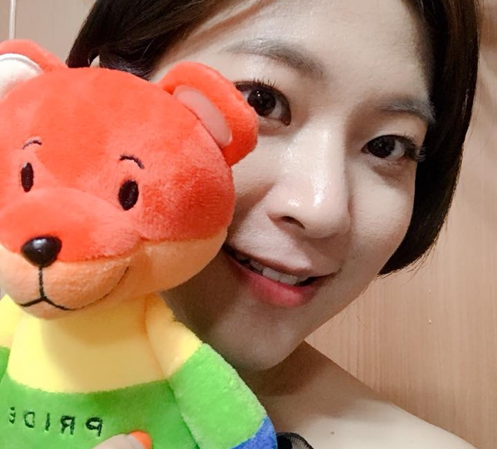Writer Eun Ha-sun poses with a LGBT teddy bear in a photo uploaded on Facebook, where she tricked homophobes to donate to the Seoul Pride festival