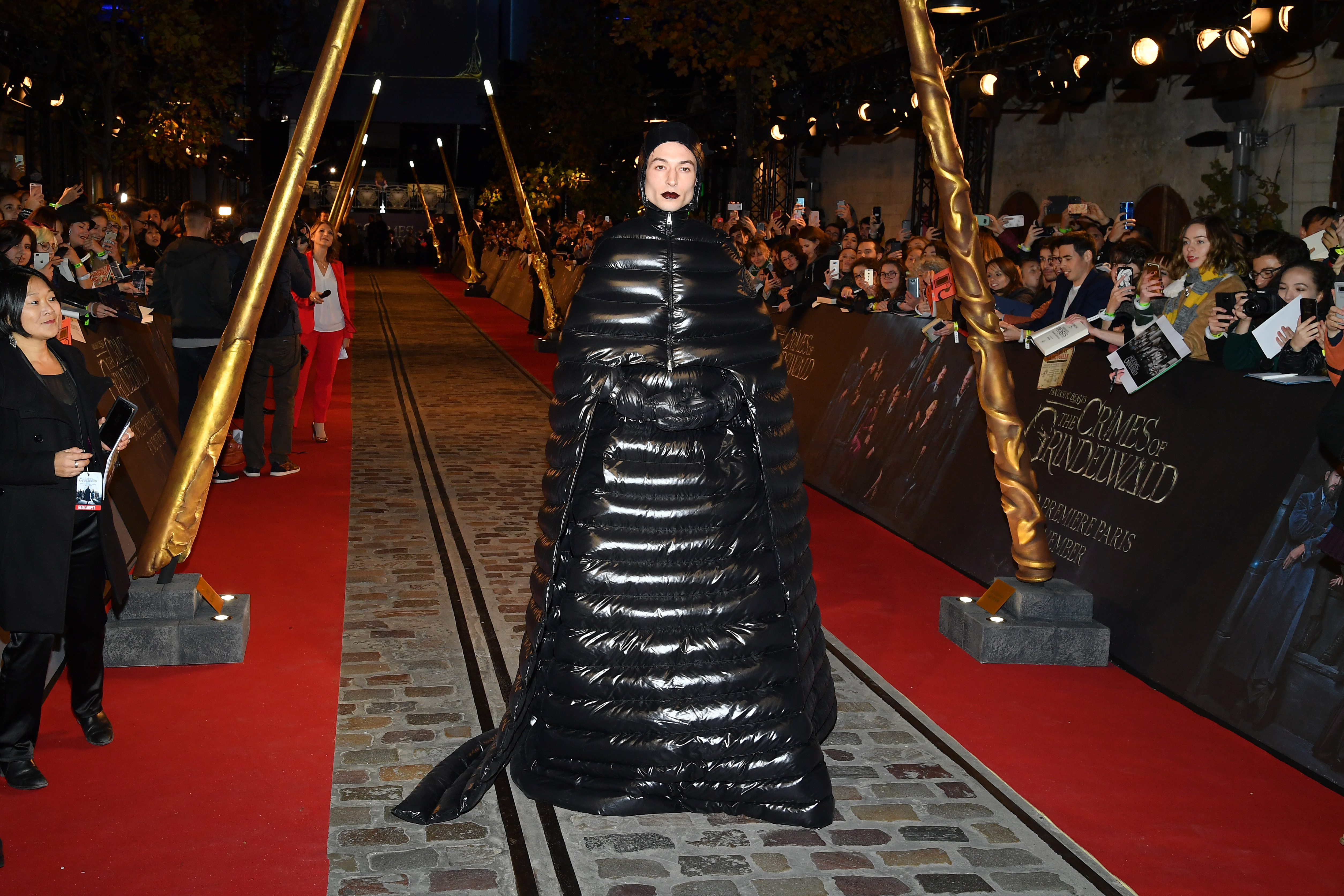 Ezra Miller attends the Fantastic Beasts: The Crimes Of Grindelwald World Premiere at UGC Cine Cite Bercy in Paris