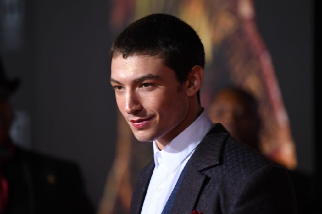 Fantastic Beasts actor Ezra Miller arrives for the world premiere of Warner Bros. Pictures' Justice League
