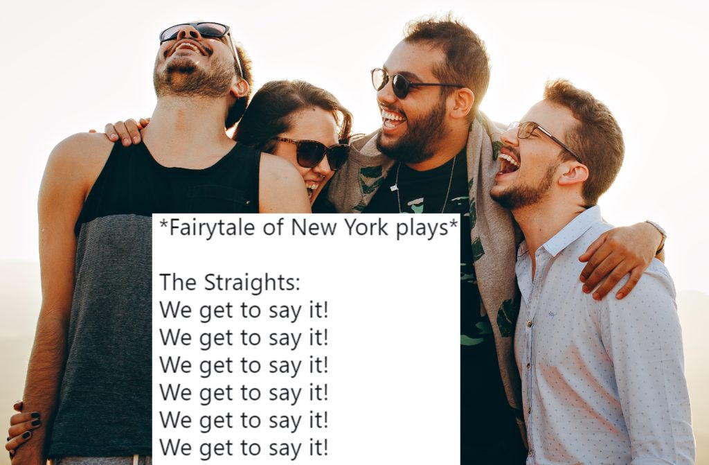 "A tweet about ""Fairytale of New York"" set against a group of friends"