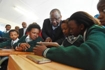 (Deputy President Cyril Ramaphosa handing over a Cyber Lab at Zanokuhle Secondary School). Deputy President Cyril Ramaphosa during Public Employment Programme Inter-Ministerial Committee visit in Whittlesea, Eastern Cape. South Africa. 09/06/2017. Siyabulela Duda