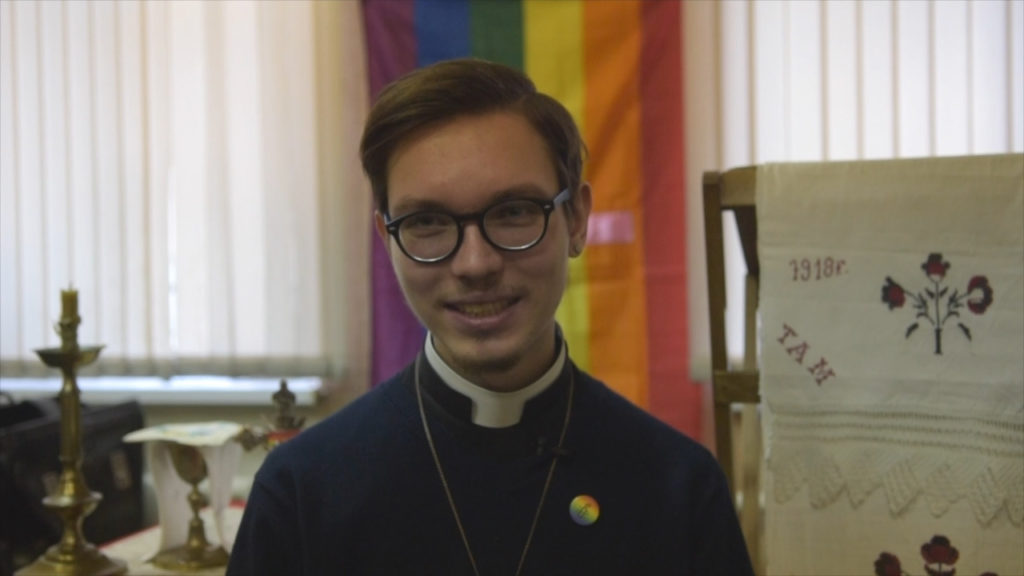 Russia's openly gay priest leads a service in St Petersburg