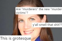 Right-wing pundit Gayle Trotter with tweets overlaid on her face