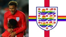 England's Dele Alli and Danny Welbeck celebrate, and the flag which will be waved on Monday (Alex Livesey/Getty and three lions pride/facebook)