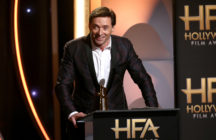 "Hugh Jackman accepts the Hollywood Actor Award for ""The Front Runner"" onstage during the 22nd Annual Hollywood Film Awards"