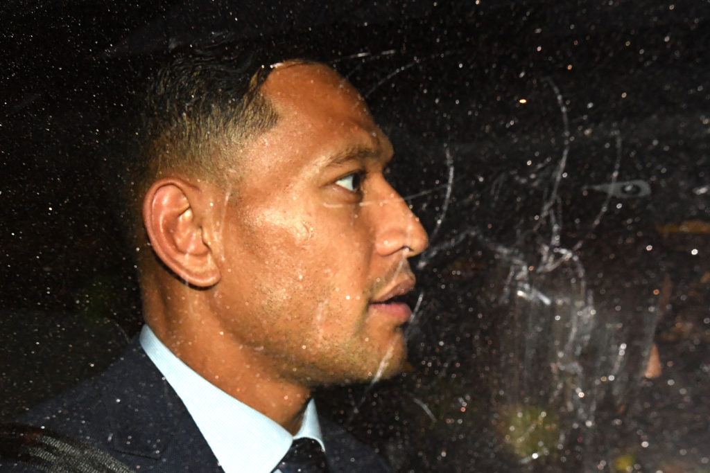 Israel Folau in the back of a car