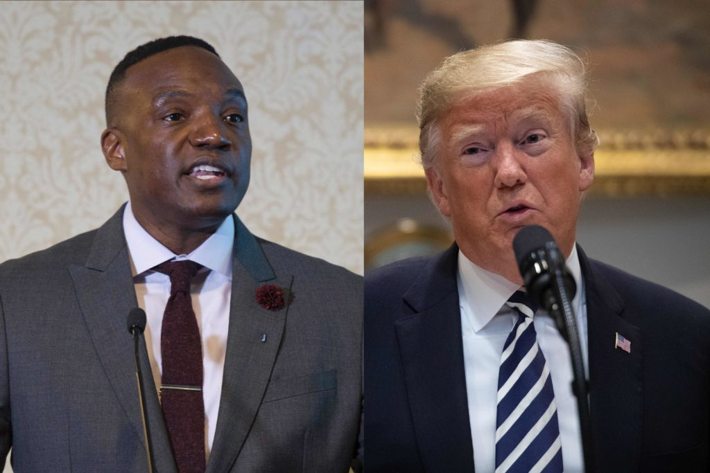 Photos of former The Apprentice season 1 runner-up Kwame Jackson and President Donald Trump