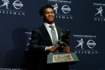 Kyler Murray of Oklahoma poses for a photo after winning the 2018 Heisman Trophy on December 8