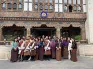 Members of Bhutan's LGBT community outside of the National Assembly building.