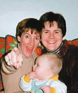 'Ex-lesbian' Lisa Miller and her then-civil partner Janet Jenkins with baby Isabella