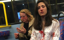 Two women on a London bus covered in blood after alleged homophobic attack