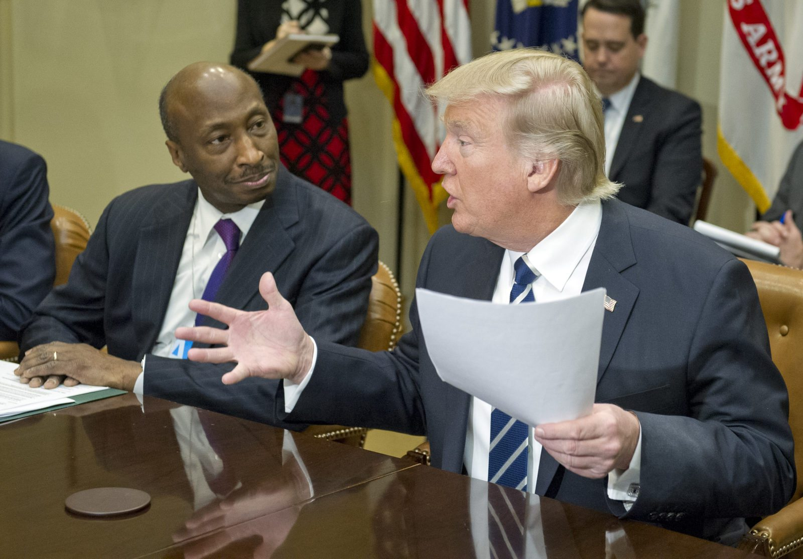 Merck boss Kenneth C Frazier and Donald Trump