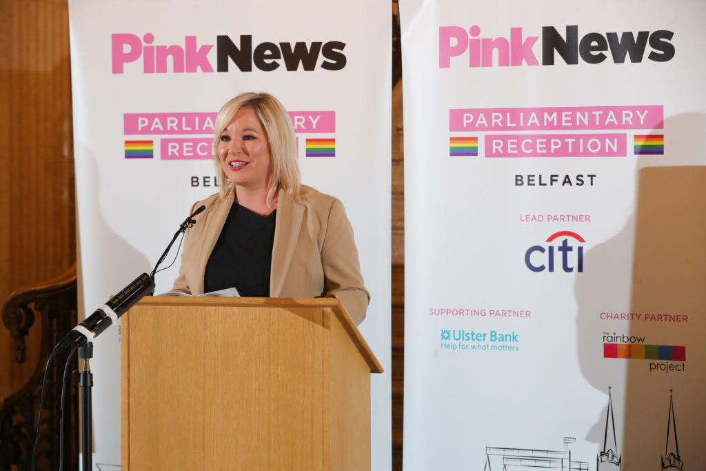 Michelle O'Neill speaking at a podium